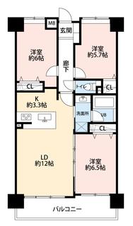3LDKと全居室収納でゆとりのある暮らしが実現。リビングは12帖の開放感あふれる空間です。ワイドバルコニでお部屋も明るくなります^^