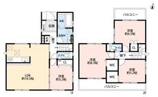 4LDKとウォークインクローゼット2ヵ所でゆとりのある暮らしが実現。リビングは隣接の洋室を合わせると21帖以上の開放感あふれる空間です。2階は洋室が3部屋、2面バルコニーで明るい空間です。