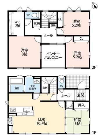 LDKと和室を合わせると21.7帖の大空間となります。 2階には洋室3部屋とインナーバルコニー^^ スタディカウンター、広々ウォークインクローゼット付。