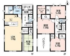 4LDKとテレワークルームでゆとりのある暮らしが実現。リビングは隣接の和室を合わせると22帖の開放感あふれる空間です。2階は洋室が3部屋あるので、お子様が大きくなっても安心ですね。