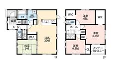 広々20帖のLDK。カウンターキッチンをはじめとした収納豊富で使いやすい間取り。WICやインナーバルコニー付きの2階にも注目です。
