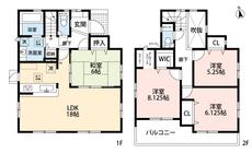 4LDKとウォークインクローゼットでゆとりのある暮らしが実現。リビングは18帖以上の開放感あふれる空間です。2階洋室にはテレワークスペースも付いています。