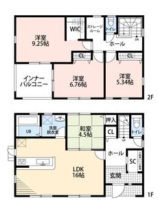 LDKと和室を合わせると20.5帖の大空間となります。嬉しいシューズインクローク付きでベビーカーやゴルフバッグがスッキリ収納できます。ストレージルームにご家族全員分の荷物を収納できお部屋もすっきり。