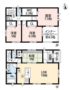 4LDKとウォークインクローゼットでゆとりのある暮らしが実現。リビングは隣接の和室を合わせると21帖の開放感あふれる空間です。2階は廊下収納と洋室が3部屋あるので、お子様が大きくなっても安心ですね。