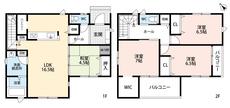 好評発売中のリビング階段。LDKと和室を合わせると21帖の大空間となります。