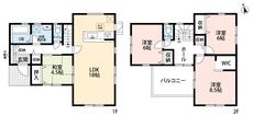 4LDKとウォークインクローゼットでゆとりのある暮らしが実現。リビングは隣にある和室を合わせると22帖以上の開放感あふれる空間です。2階は洋室が3部屋あるので、お子様が大きくなっても安心ですね。