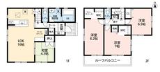 4LDKとウォークインクローゼットでゆとりのある暮らしが実現。リビングは16帖の開放感あふれる空間です。2階は洋室が3部屋、フリースペースもあるので、お子様が大きくなっても安心ですね^^
