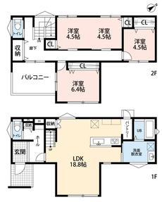 リビングは18帖以上の開放感あふれる空間です。2階の洋室は区切って使用することも可能です。お子様が大きくなっても安心ですね^^