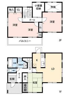4LDKと小屋根収納でゆとりのある暮らしが実現。リビングは16帖以上の開放感あふれる空間です。2階は洋室が3部屋あるので、お子様が大きくなっても安心ですね^^