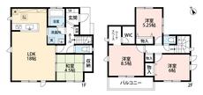リビングは隣接の和室を合わせると22.5帖の開放感あふれる空間です。2階は洋室が3部屋あるので、お子様が大きくなっても安心ですね^^