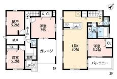 2階にあるリビングは広々20帖の大空間。2階にあるので人目も気にならず家族団らんの憩いの場所になります^^2カ所に納戸がありお部屋としてもご使用できます^^