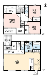 2階の居室にはウォークインクローゼットや大きめのクローゼットがあり、居室を最大限に使う工夫がされています。洋服や荷物などたくさん入れられ便利です。