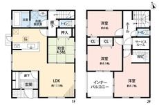 2階居室は6帖以上でWIC付き8帖洋室は寝室におすすめです^^扉付きのサービスルームもあり、大型の荷物もラクラク収納出来ます。